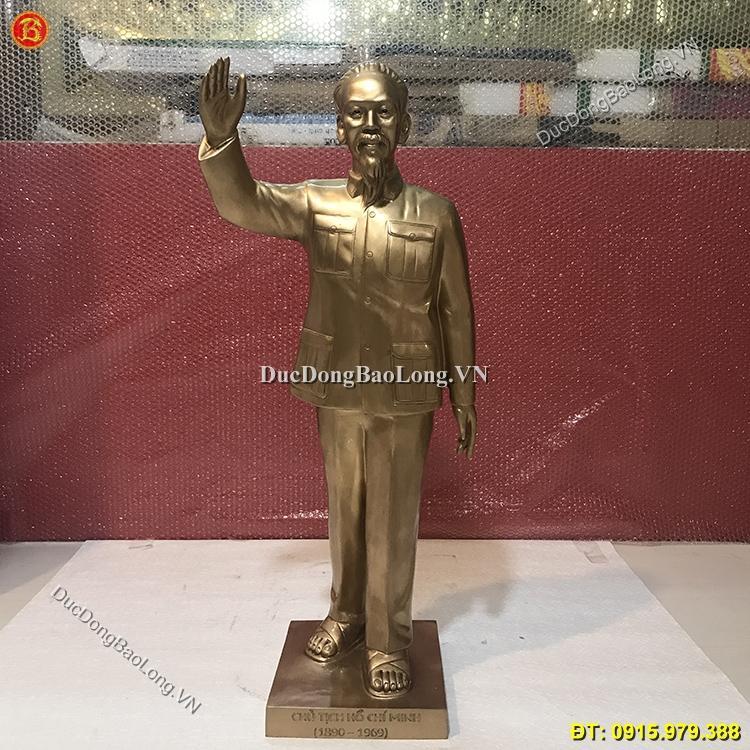 Tượng Bác Hồ Vẫy Tay Chào Bằng Đồng Cao 81cm