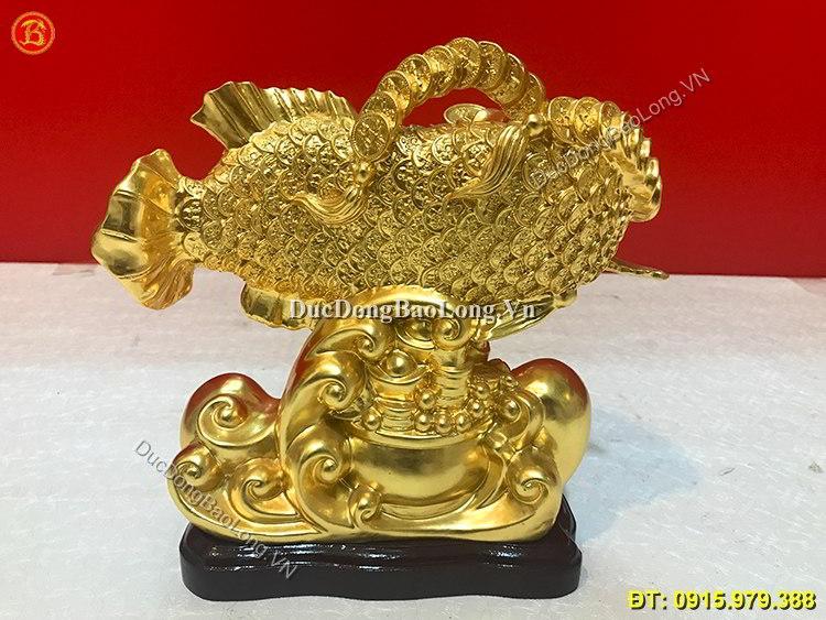 Tượng Cá Rồng Bằng Đồng Dát Vàng Cao 23cm