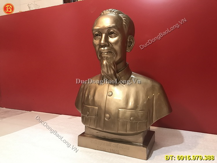 Tượng Chân Dung Bác Hồ Bằng Đồng Cao 61cm