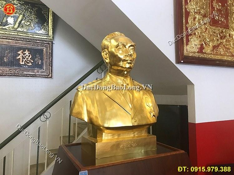 Tượng Đồng Võ Nguyên Giáp Dát Vàng Cao 81cm