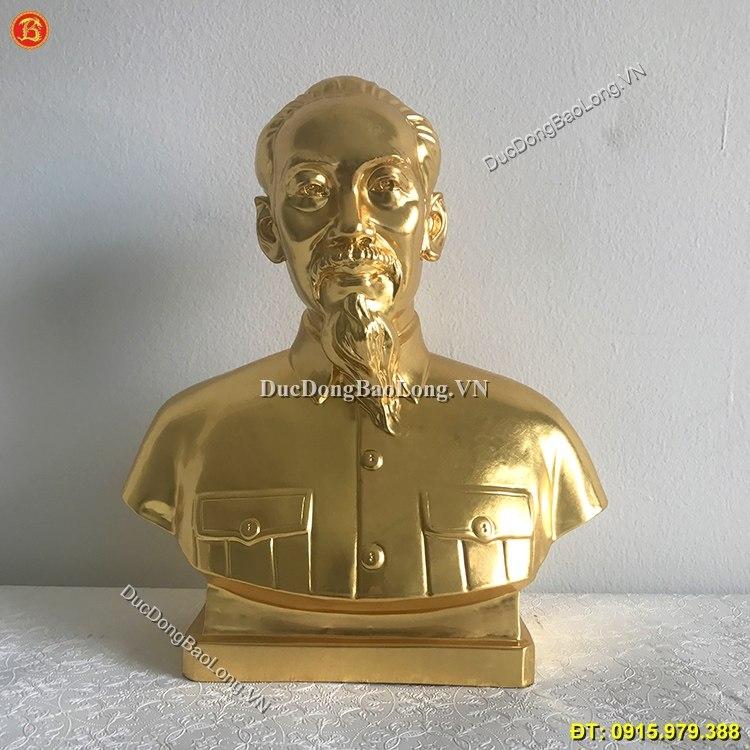 Tượng Đồng Chân Dung Bác Hồ Dát Vàng 30cm