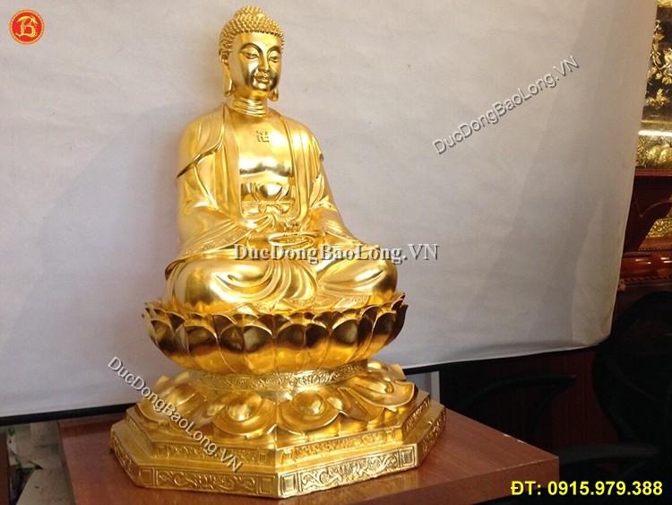 Tượng Đồng A Di Đà Dát Vàng 9999 Cao 68cm