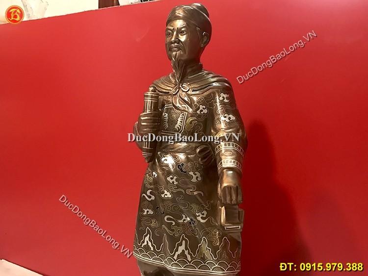 Tượng Đồng Trần Hưng Đạo Khảm Tam Khí 69cm