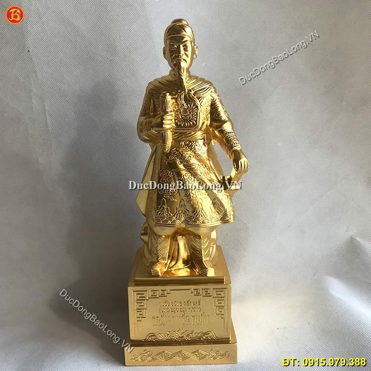 Tượng Đồng Trần Quốc Tuấn Dát Vàng 42cm