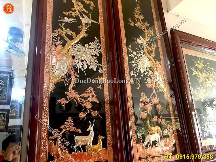 Tranh Tùng Lộc Mai Điểu Mạ Vàng Bạc 1m76