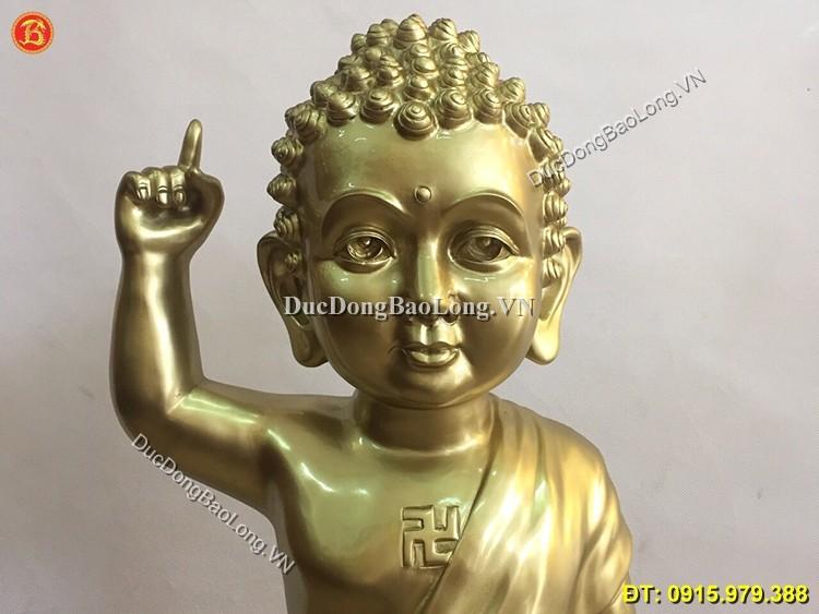 Tượng Thích Ca Đản Sinh Bằng Đồng Cao 89cm