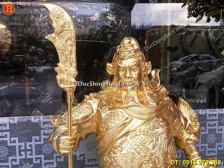 Tượng Đồng Quan Công Dát Vàng Cao 69cm