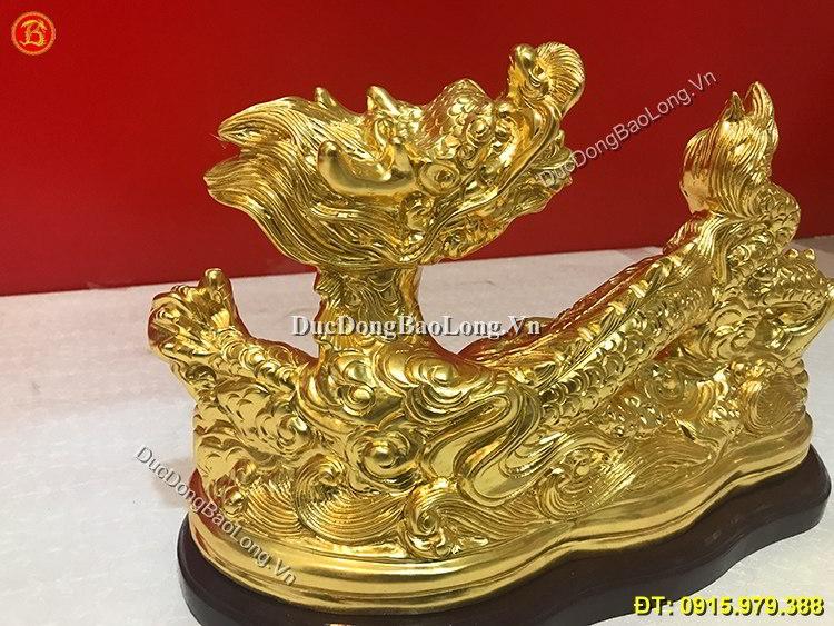 Vàng 9999: Tượng Rồng Bằng Đồng Dát Vàng Dài 40cm