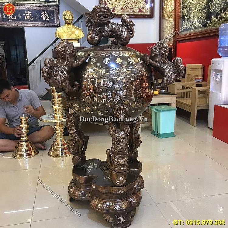 Đỉnh Đồng Thất Lân Vờn Cầu 1m27