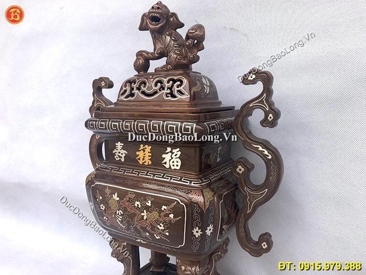 Đỉnh Đồng Vuông Khảm Tam Khí Cao 55cm