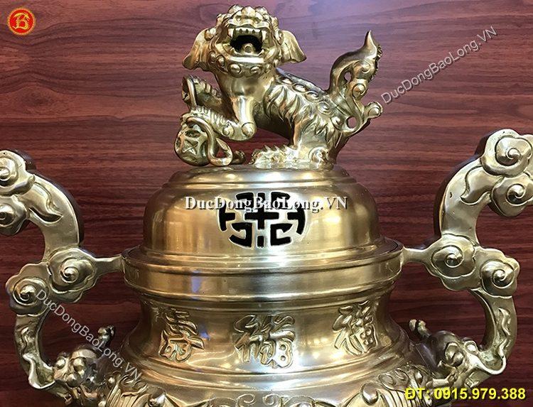 Đỉnh Đồng Thờ Cúng Phúc Lộc Thọ Cao 60cm