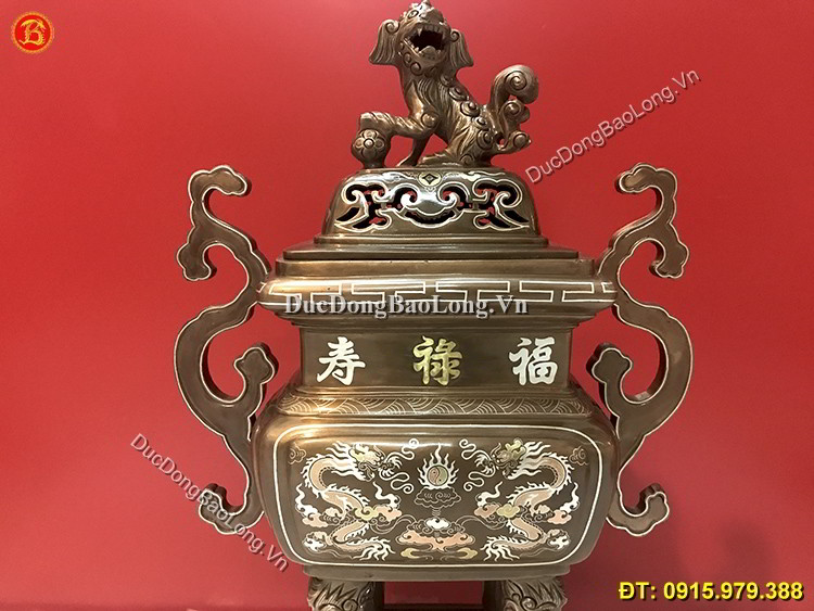 Đỉnh Vuông Khảm Tam Khí Thờ Cúng Cao 53cm