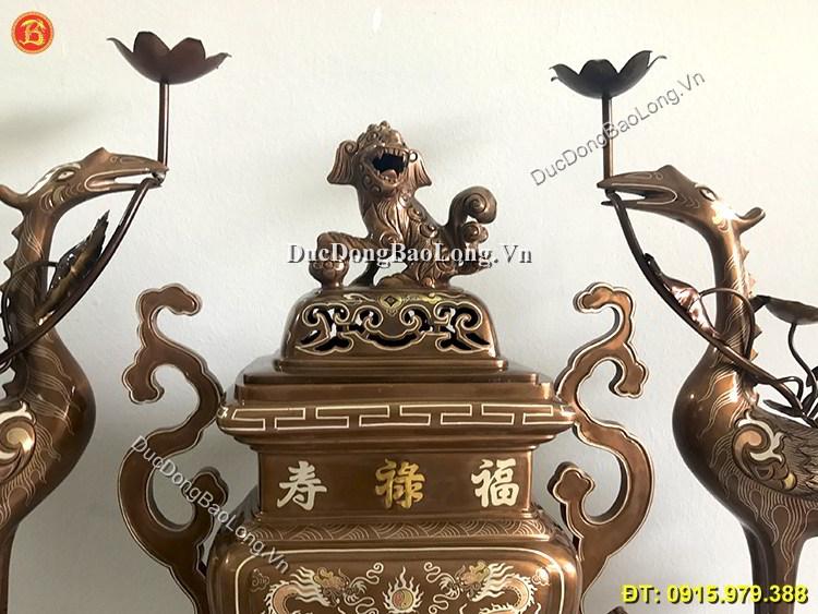 Đồ Thờ Đỉnh Vuông Khảm Tam Khí Cao 55cm