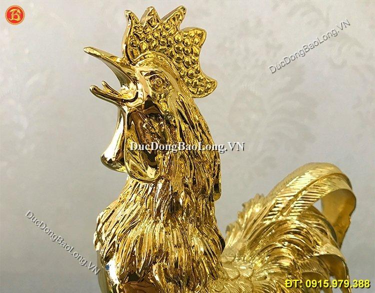 Tượng Gà Phong Thủy Mạ Vàng 24k 22cm