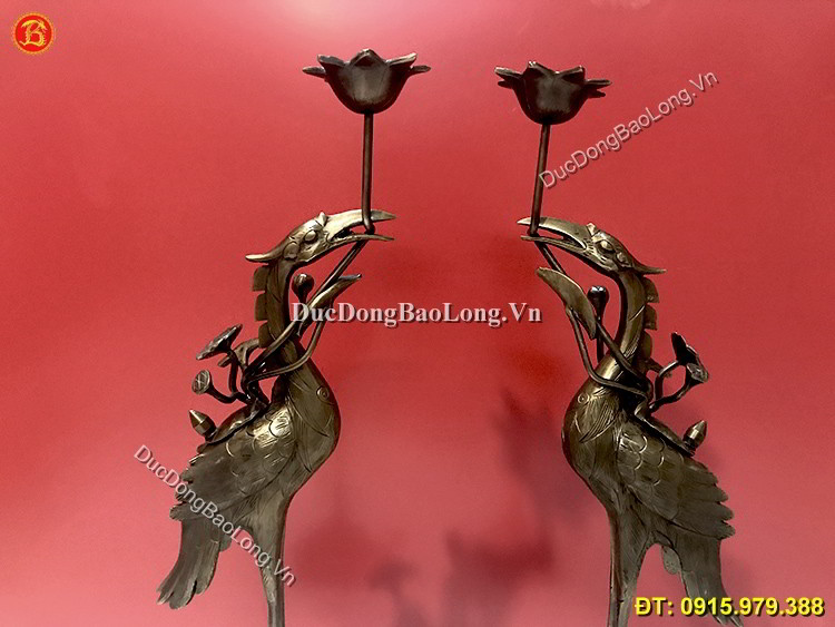 Hạc Đồng Hun Giả Cổ Thờ Cúng Cao 50cm