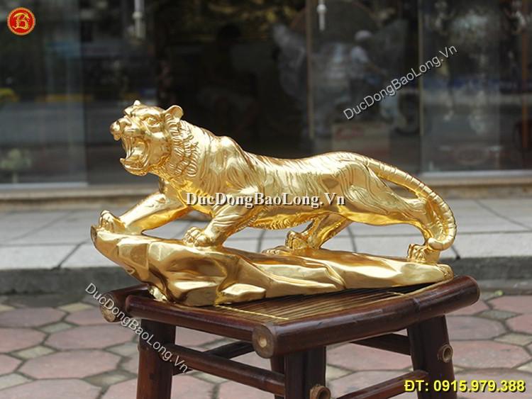 Tượng Con Hổ Dát Vàng 9999 Dài 43cm