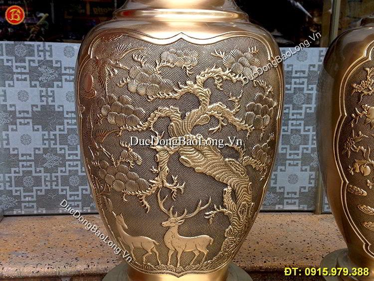 Lọ Hoa Đồng Thau 81cm Thờ Cúng Gia Tiên