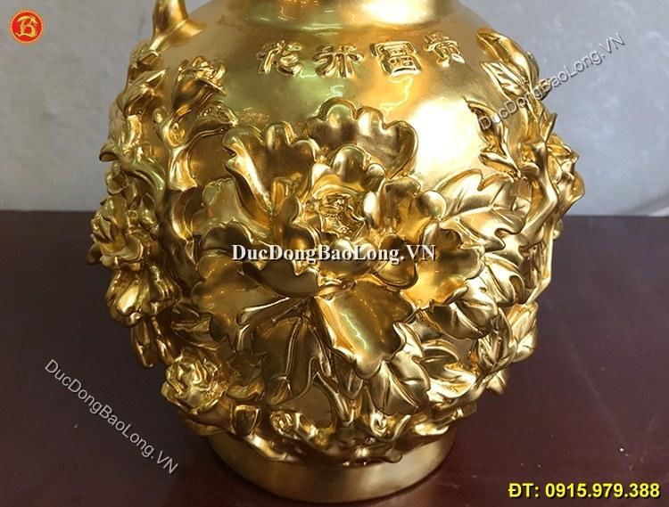 Lọ Hoa Mẫu Đơn Bằng Đồng Dát Vàng 32cm