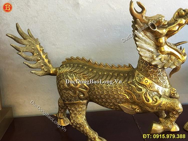 Long Mã Bằng Đồng Vàng Dài 55cm