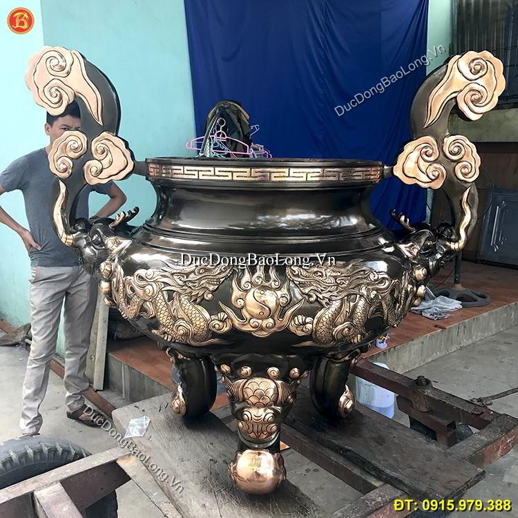 Lư Hương Đồng Tai Mây Đình Chùa 1m33