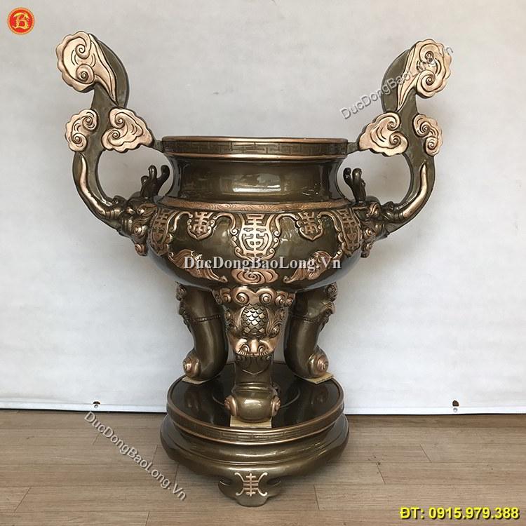 Lư Hương Đồng Đền Chùa Đúc Đồng Đỏ 90cm