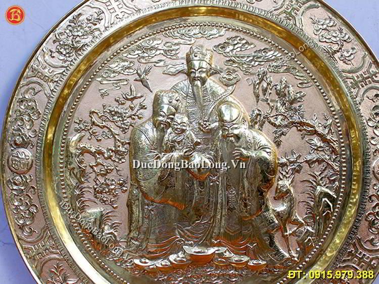 Mâm Đồng Phúc Lộc Thọ 81cm Hàng Chạm Tay