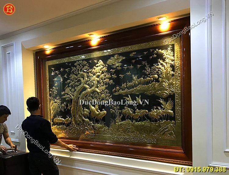 Tranh Đồng Bách Hạc Quần Tùng 3m23