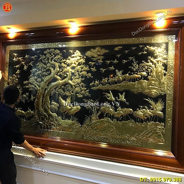 tranh bách hạc quần tùng mạ vàng 24k