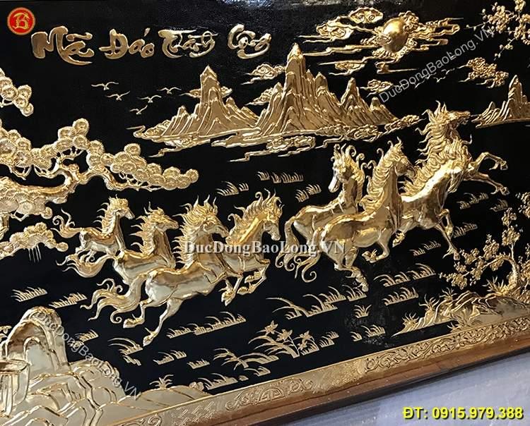 Tranh Bát Mã Bằng Đồng Mạ Vàng 24k