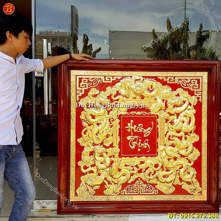 Tranh Cửu Long Hưng Thịnh Mạ Vàng 1m33