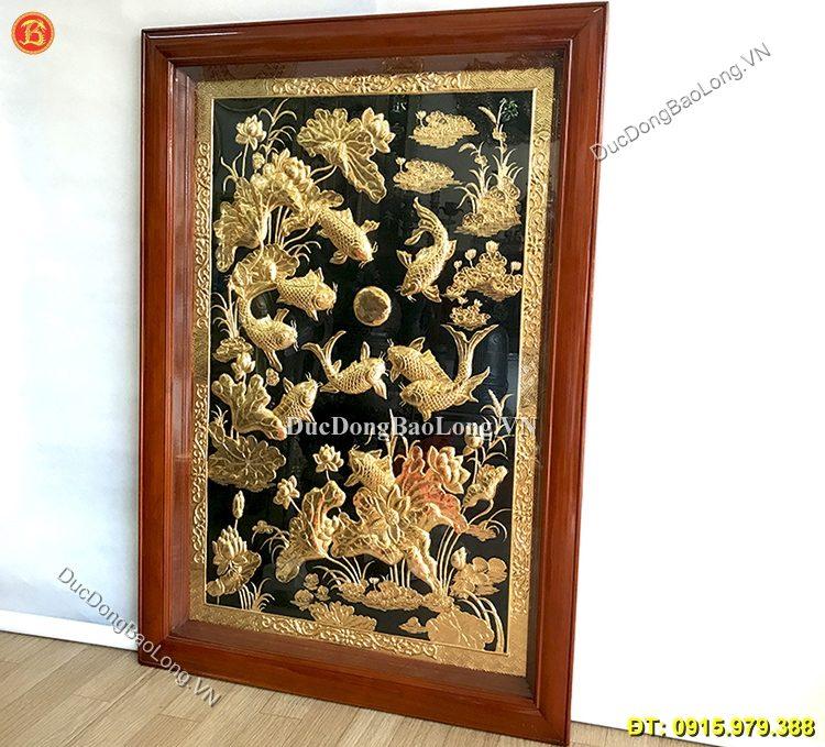 Tranh Đồng Cửu Ngư Hoa Sen Mạ Vàng 1m27