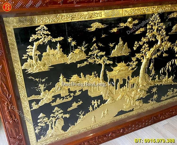 Tranh Đồng Quê Bằng Đồng Mạ Vàng 2m3