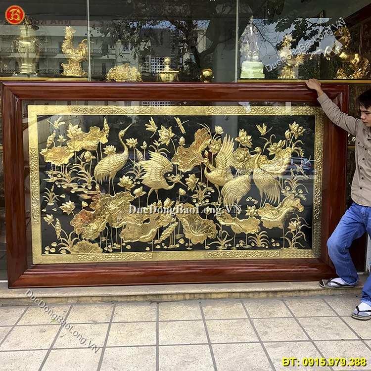 Tranh Đồng Sen Hạc Đẹp Nhất Dài 2m62