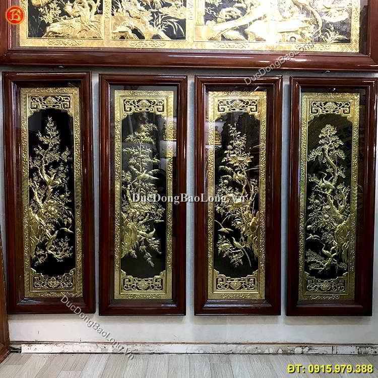 Tranh Tứ Quý Đồng Vàng Dài 1m x 40cm