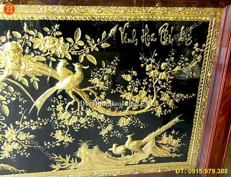 Tranh Đồng Vinh Hoa Phú Quý Mạ Vàng 1m55