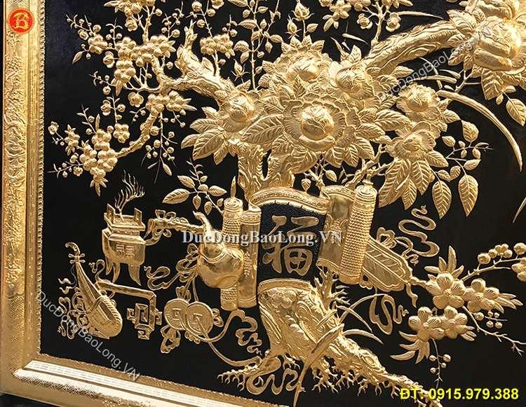 Tranh Vinh Hoa Phú Quý Mạ Vàng 24k 2m3