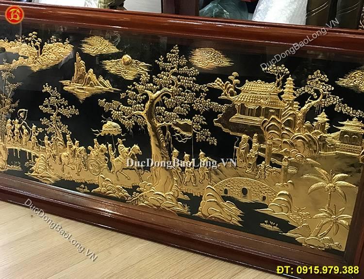 Tranh Đồng Vinh Quy Bái Tổ Mạ Vàng 24k 1m27