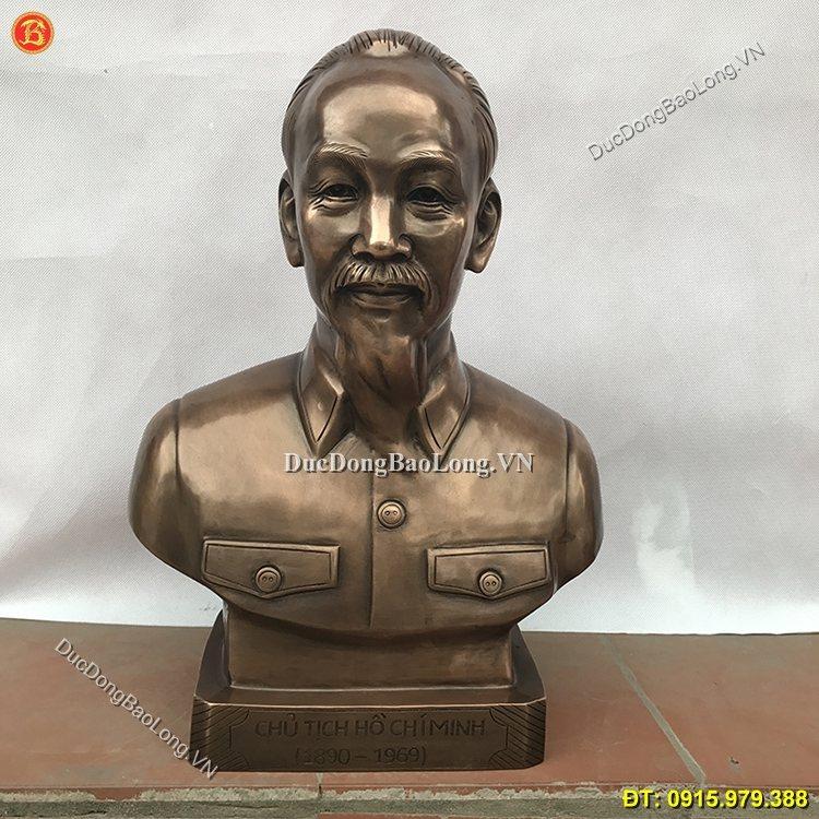 Tượng Chân Dung Bác Hồ Bằng Đồng 45cm