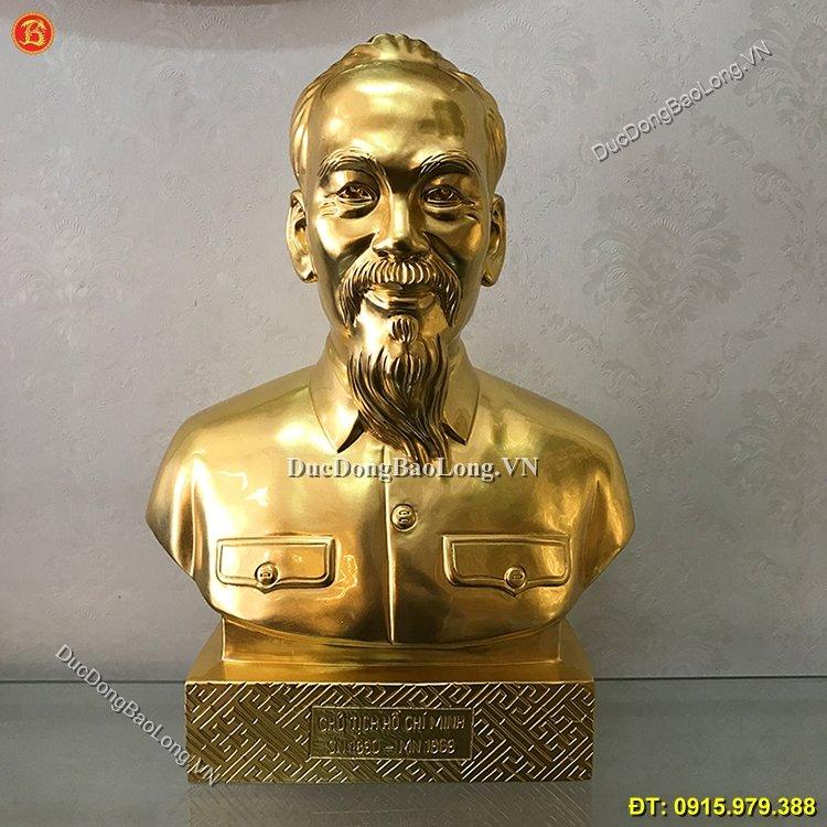 Tượng Chân Dung Bác Hồ Dát Vàng Cao 37cm