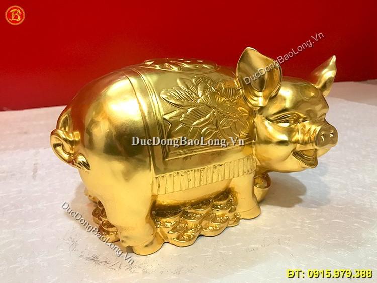 Tượng Lợn Bằng Đồng Dát Vàng 9999 Dài 25cm