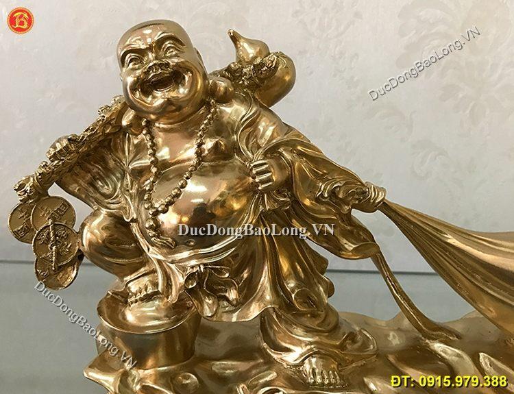 Tượng Di Lặc Kéo Tiền Bằng Đồng 28cm