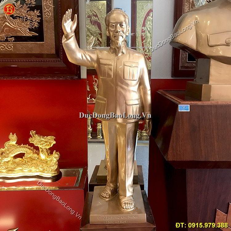Tượng Bác Hồ Đứng Vẫy Tay Bằng Đồng 81cm