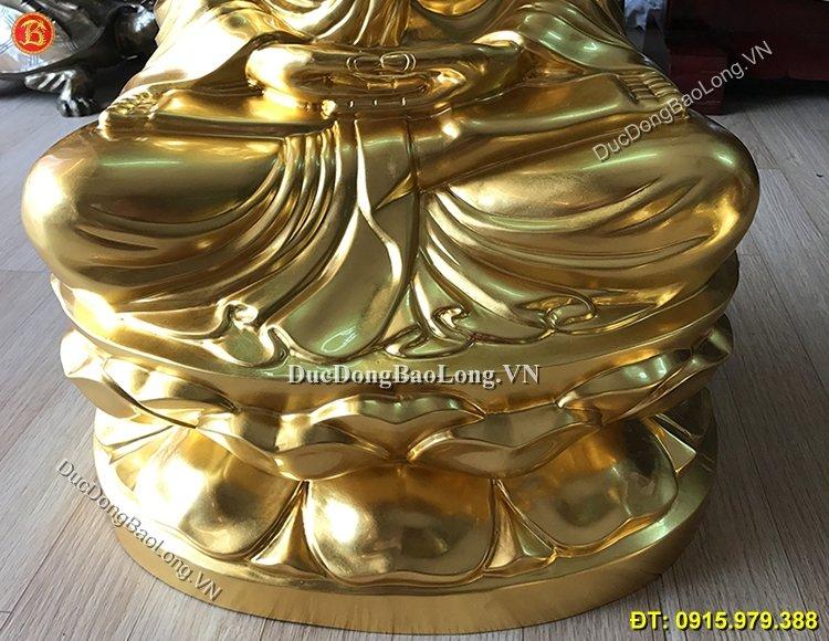 Tượng Phật Thích Ca Bằng Đồng Dát Vàng 81cm