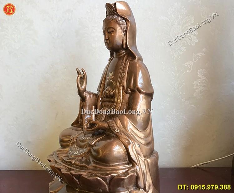 Tượng Đồng Phật Quan Âm Khảm Tam Khí 39cm