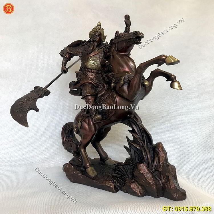 Tượng Đồng Quan Công Cưỡi Ngựa Giả Cổ 37cm