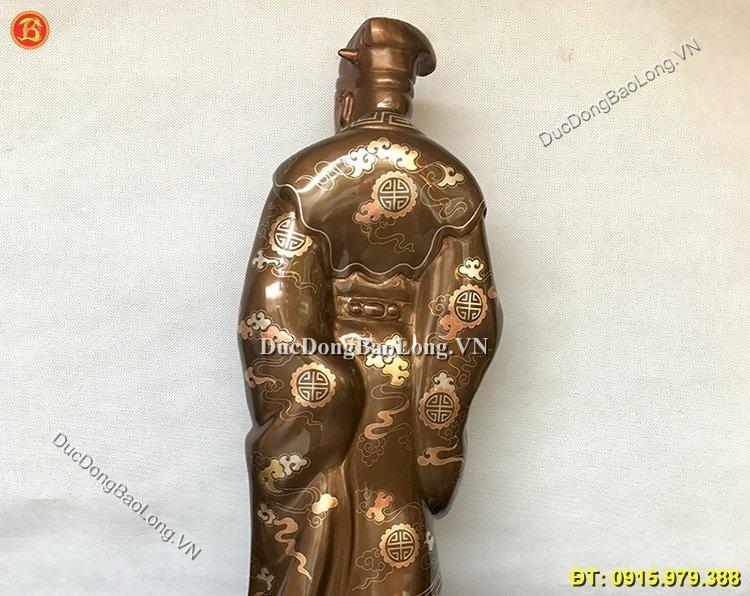 Tượng Đồng Khổng Minh Khảm Tam Khí 55cm