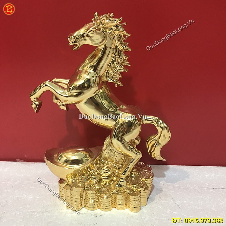 Tượng Con Ngựa Mạ Vàng 24k Cao 33cm