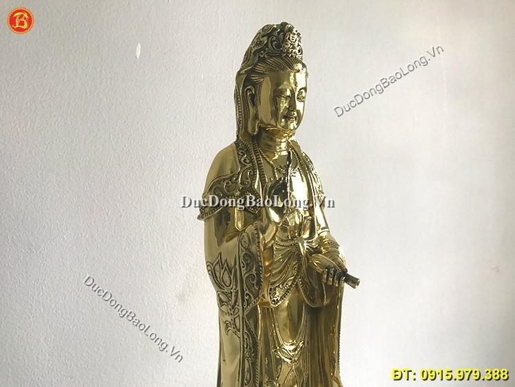 Tượng Đồng Phật Bà Đứng Trên Đài Sen 61cm
