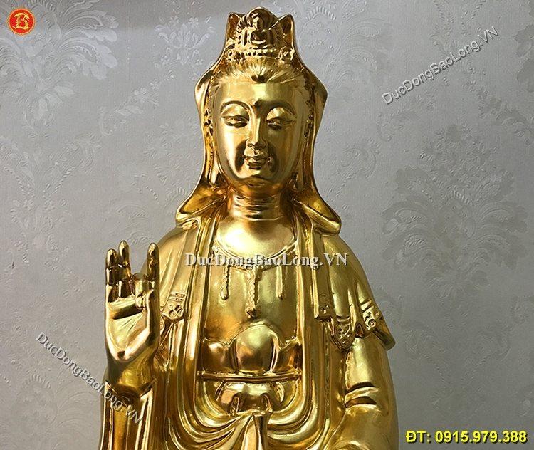Tượng Đồng Phật Bà Dát Vàng 39cm