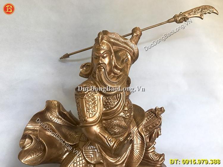 Tượng Quan Công Múa Võ Bằng Đồng Đỏ 61cm